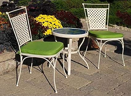 Amazon.com: Bristo Table Set-3 Pieces-Cream Metal Frame ...