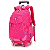 Girls Backpack with Wheels Removable Rolling Backpack School Bag (2 wheels)