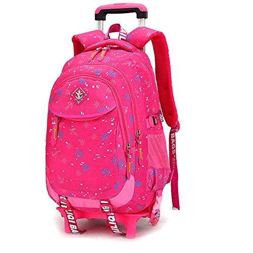 GudeHome Schultrolley Schulranzen mit Abnehmbar Rollen Schultasche Schulrucksack mit Rollen für Mädchen Kinder Rose