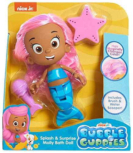 Nick Jr. - Bubble Guppies Splash & Surprise Molly Bath Doll - Hair Magically Changes Colors, Includes Brush & Water Scooper! ()
