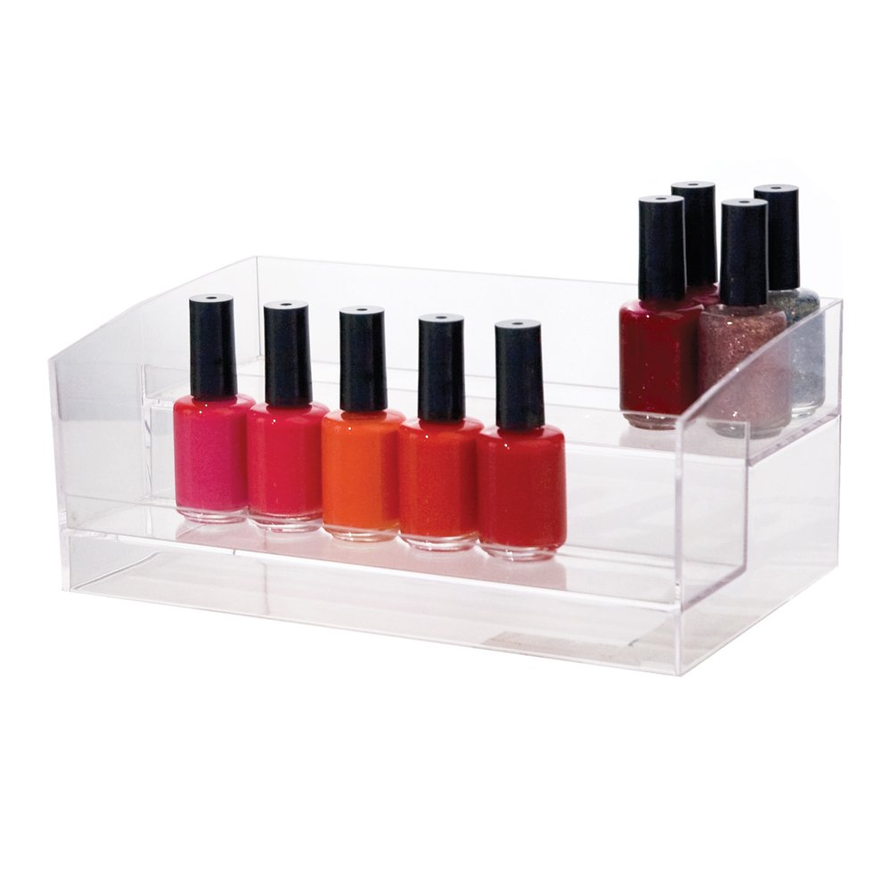 2-Tiered Clear Plastic Nail Polish Organizer