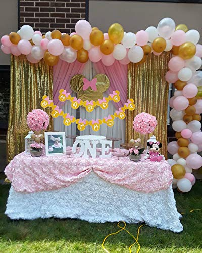 Amazon Minnie Mouse Pink And Gold Inspired Happy Birthday Banner Party Decorations For Girls Themed Decoration Toys