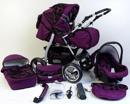 3 in 1 Kombikinderwagen Komplettset VIP - inkl. Kinderwagen, Babyschale und Sportwagen Aufsatz - 3. IRYS Hartgummi Bereifung - 41. Violet-Schwarzeblumen