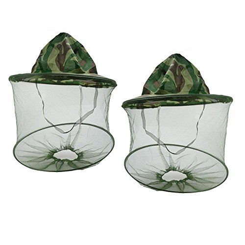 EXBOM 2 Pcs Camouflage Beekeeper Beekeeping Hat, Anti-Mosquito Bee Bug Insect Fly Mask Cap with Head Net Mesh Face Protection Outdoor Fishing Equipment