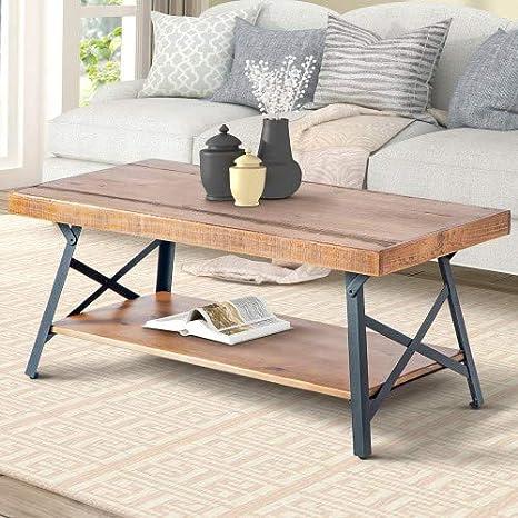 Amazon.com: Wood Coffee Table Metal Legs Living Room Set ...