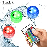 Submersible Led Lights, Pool Lights Underwater Waterproof IP68, Derlson Wireless Remote Controlled Color Changing Night Accent Lighting for Aquarium, Hot Tub, Party and Home Garden Decoration (3Pack)
