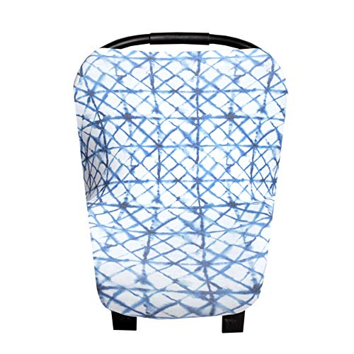 Baby Car Seat Cover Canopy and Nursing Cover Multi-Use Stretchy 5 in 1 GiftIndigo by Copper Pearl