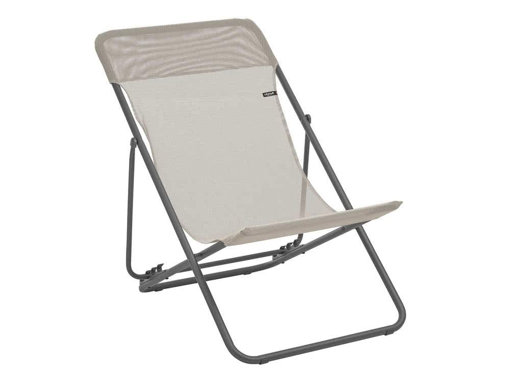 Lafuma LFM2502-8548 Maxi Transat Folding Sling Chair with Basalt Steel Frame and Batyline Fabric, ((Set of 2), Seigle by Lafuma