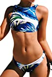 CUPSHE FASHION Women's Feather Printing Halter Two-piece Padding Bikini Set (L)