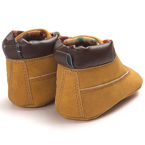 Voberry Toddler Baby Boy's Leather Sneaker Shoes Lace up Snow Boots Warm (0~6Month, Khaki) by Voberry (Image #3)