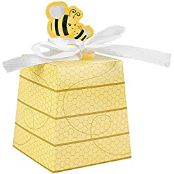 Crystallove 30pcs DIY Paper Wedding Favor Boxes Baby Shower Candy Sugar Box of Party Decorations (Bee-Style)