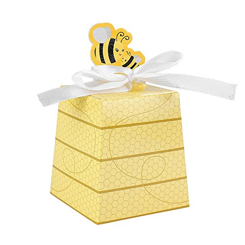 (Crystallove 30pcs DIY Paper Wedding Favor Boxes Baby Shower Candy Sugar Box of Party Decorations (Bee-Style) )