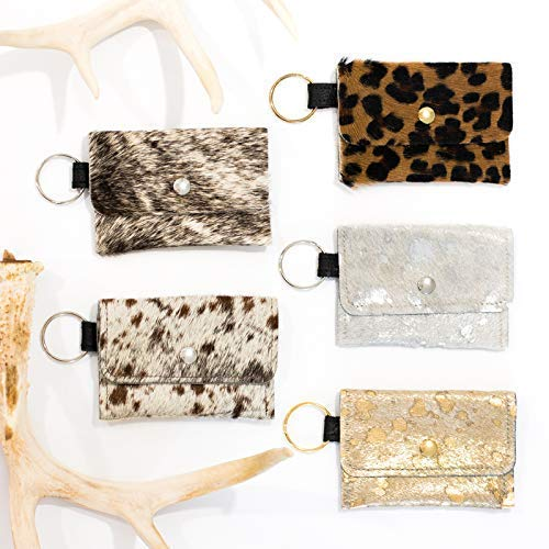 - Keychain Wallet - Small Cowhide Wallet, Leather Card Holder, Keychain Pouch, Wallet KeyFob Hair on Hide Gold, Silver, Leopard, Gray Brindle