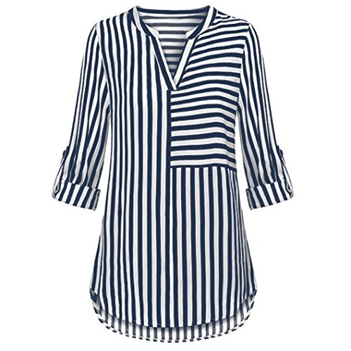 ZOMUSAR Women's Chiffon Blouse Button Split V Neck Blouse Cuffed Sleeve Striped Shirt Tops ()