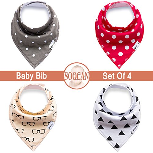 SOOCAN Baby Bandana Drool Bibs Set Of 4 Packs Unisex Super Absorbent Cotton Drooling and Teething Baby Gift Set for Girls & Boys