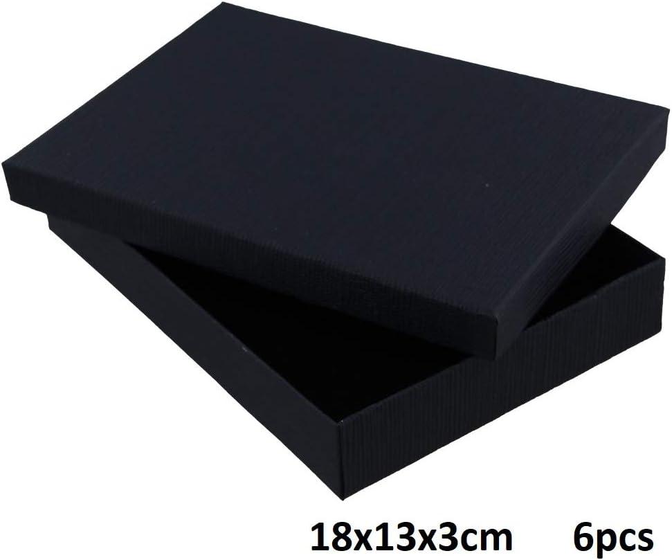 Dielay Lot de 6 bo/îtes cadeau de luxe avec couvercle 18 x 13 x 3 cm 18 x 13 x 3 cm Noir