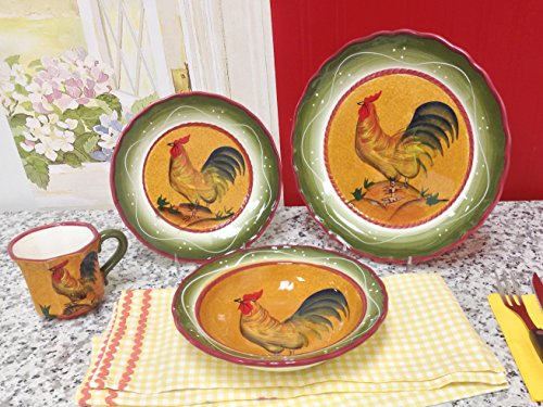 Amazon.com - Tuscan Sunshine County Rooster Hand Painted Canisters ...