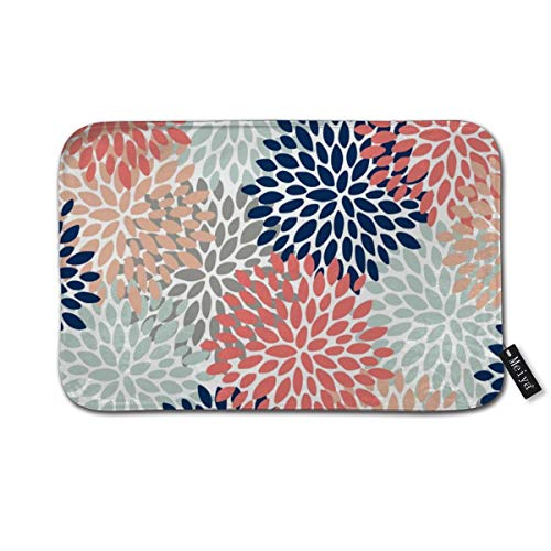 Floral Bloom Print Coral Pink Pale Aqua Blue Gray Navy Doormat Floor Mat with Non-Slip Backing Bath Mat Rug Funny Home Decor 23.6