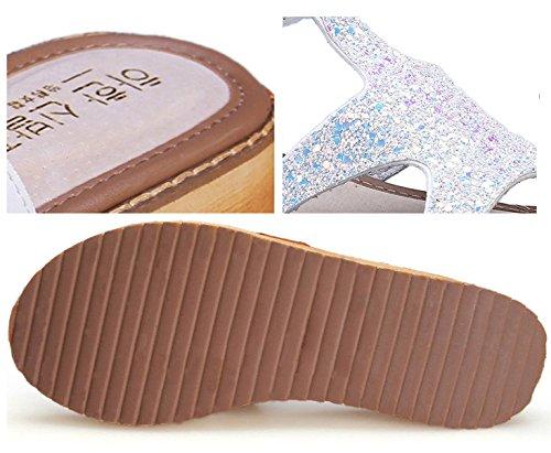 H&W Mujer Micro Cuero Planas Sandalias Embellecido 3.5CM Gum Goma Soles Hebilla Correa Blanco