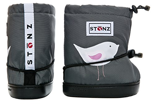 Stonz Three Season Stay-On Baby Booties, for Bare Feet or Shoes, for Mild or Cold Snow Weather, Soccer Ball - Dark Green Small