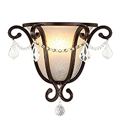 Wsxxn European Vintage Wrought Iron Wall Lamp American Creative Crystal Wall Lamp Living Room TV Background Wall Bedroom Bedside Wall Light (Color : Brass)