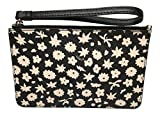 Coach F57936 Graphic Floral Small Wristlet Black/White