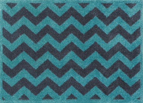 Turtle Mat Turquoise Chevron Bath Mat Highly absorbent Indoor barrier mat with Multi-Grip backing 60 X 85cm