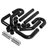 "Universal 2.75"" 8pcs Black Front Mount Turbo Intercooler Piping+Silicone Hose+Clamps Kit"