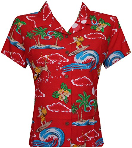 Hawaiian Shirt Women 41W Santa Aloha Beach Blouse Camp Swim Party Red XS ()