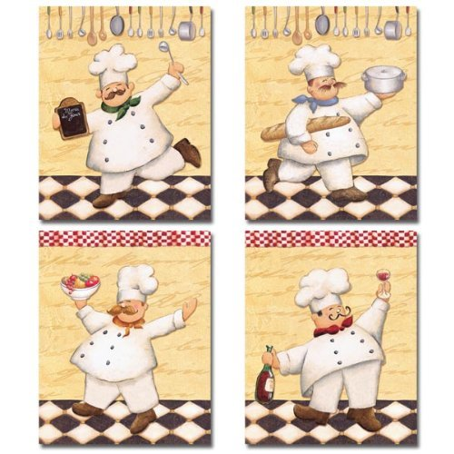 Ordinaire Amazon.com: Set Of 4 Happy French Chef Kitchen Prints Le Chef Cook By  Daphne Brissonnet 8x10: Chef Curtains: Posters U0026 Prints