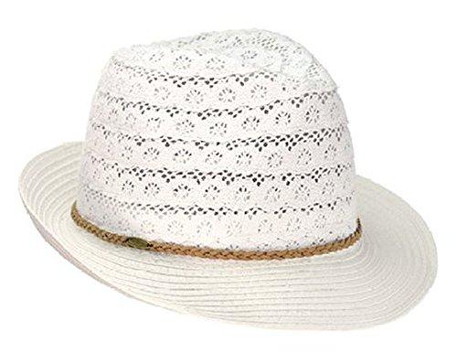 Women's Classic Brim Knit Fedora Vented Cotton Summer Beach Sun Hat (White)