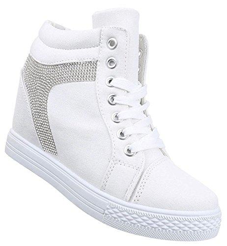 Damen Sneaker Schuhe Freizeitschuhe Keilabsatz Wedges Stiefelette High-Top  Schwarz weiss gelb 36 37 38 451af8488e