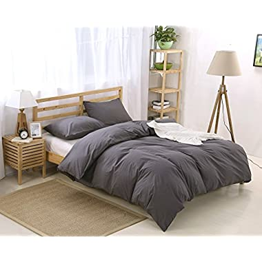 Colourful Snail 100-Percent Natural Washed Cotton Duvet Cover Set, Ultra Soft and Easy Care, Fade Resistant, King, Dark Grey