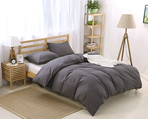 Colourful Snail 100-Percent Natural Washed Cotton Duvet Cover Set, Ultra Soft and Easy Care, Fade Resistant, Queen/Full, Dark Grey (Dark Grey Comforter Set)