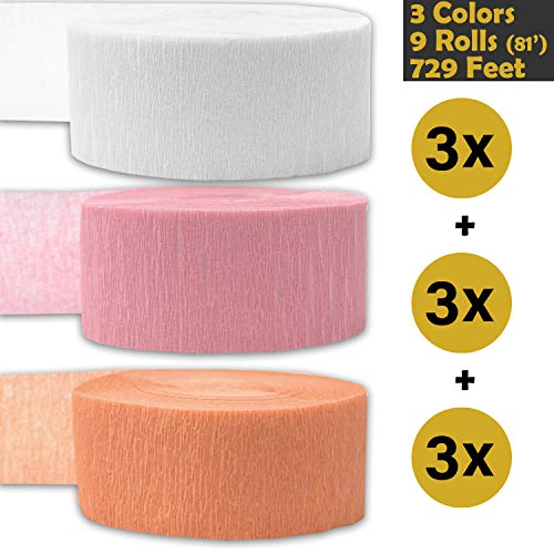 - Crepe Party Streamers, 9 rolls, 3 Colors, 739 ft - White + Classic Pink + Peach - 243' per color (3 rolls per color, 81 foot each roll) - For party Decorations and Crafts - Flame Resistant, Bleed Resistant, Made in USA