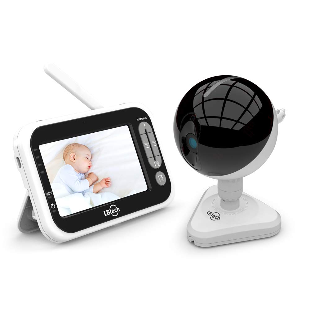 LBtech Video Baby Monitor with One Camera, 4.3 inches LCD Screen,Infrared Night Vision,Two-Way Talkback,Temperature Detection,Power Saving Vox,Zoom in Lens,Support Multi Camera