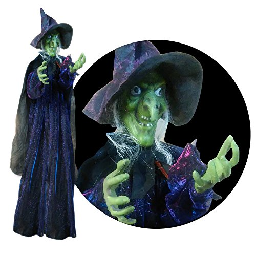 [Lifesize 6ft Hanging Witch Halloween Prop - Lights Up and Spooky Sounds] (Animated Witch)