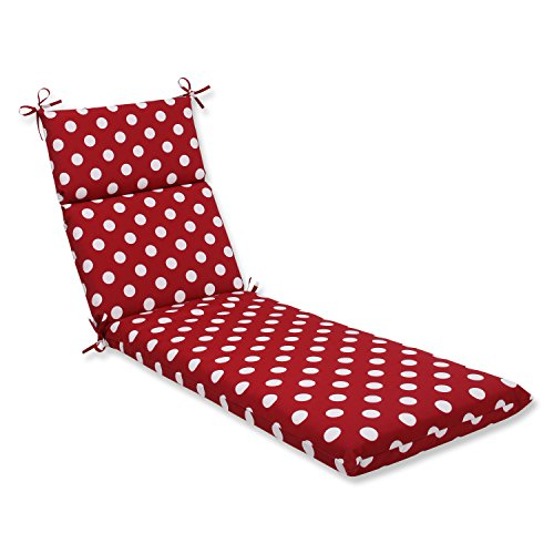 (Pillow Perfect Indoor/Outdoor Polka Dot Chaise Lounge Cushion 72.5 in. L X 21 in. W X 3 in. D Red/White)