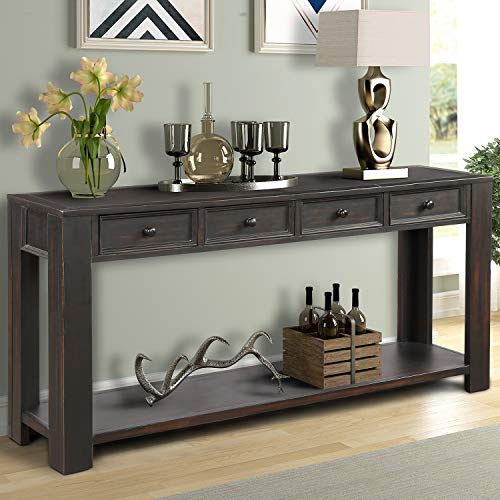 "P PURLOVE Console Table for Entryway Hallway Easy Assembly 64"" Long Sofa Table with Drawers and Bottom Shelf (64"", Retro Black)"