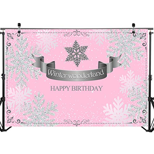 Mocsicka Winter Wonderland Backdrop Happy Birthday Background Pink Background Snow Decoration Backdrops 7x5ft Vinyl Photography Backdrops for $<!--$17.99-->