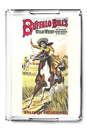 Buffalo Bill's Wild West - Amazones Americaines Vintage Poster France c. 1905 (Acrylic Serving Tray)