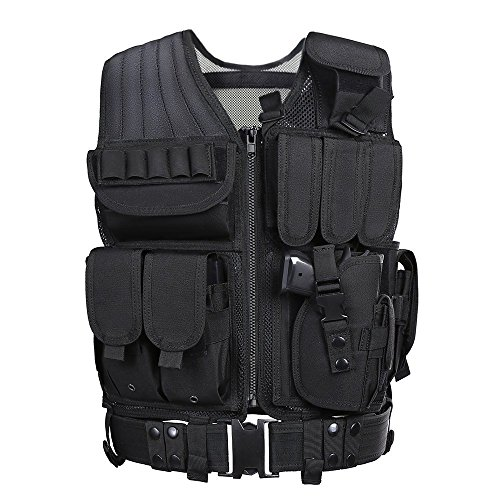 Tactical Airsoft Paintball Combat Military Swat Assault Army Shooting Hunting Outdoor Molle Police Vest With Pistol Holster