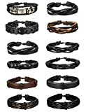 Thunaraz 12-16 Pcs Braided Leather Bracelets for Men Women Cuff Bracelet,Adjustable