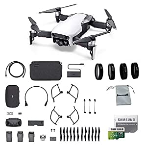 DJI Mavic Air Fly More Combo (Arctic White) Portable Quadcopter Drone Bundle with 64GB SD Card, 4-Pack Lens Filter Set and More