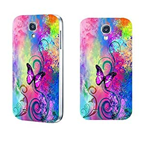 Vintage Pastel Butterfly Print Hard Protective Skin Case for Samsung Galaxy S4 I9500 Cell Phone ,Hard Plastic Women Cell Phone Cover Case (flower swirl whites1157)