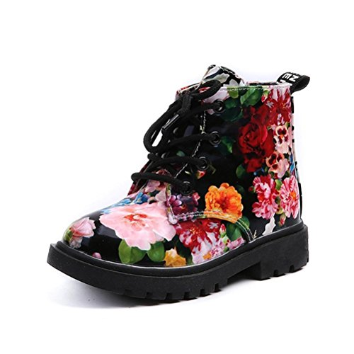 Alivego Girls Fashion Floral Kids Shoes Baby Martin Boots Casual Children Boots (Black, Age:2T) (Doll Shoes Velvet Heels)