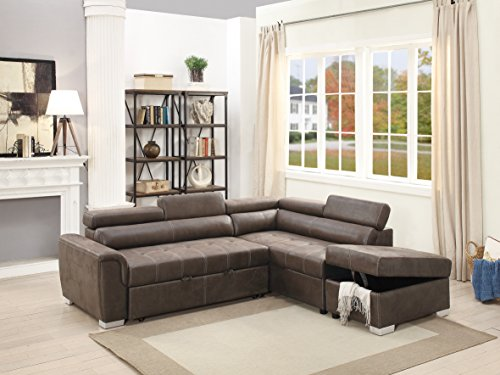 Living Room Bobkona Convertible Sectional Sofa Dark Coffee Breathable Leatherette Tufted Sofa w Pull out Bed Chaise Storage Ottoman Flip up Headrest