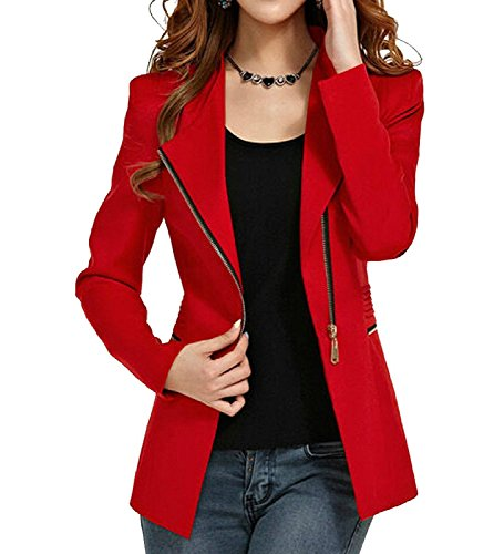 Women's Autumn Oversize Slim Fit Bodycon Zipper Suit Coat Jacket Blazer Outwear US 8-10 Red