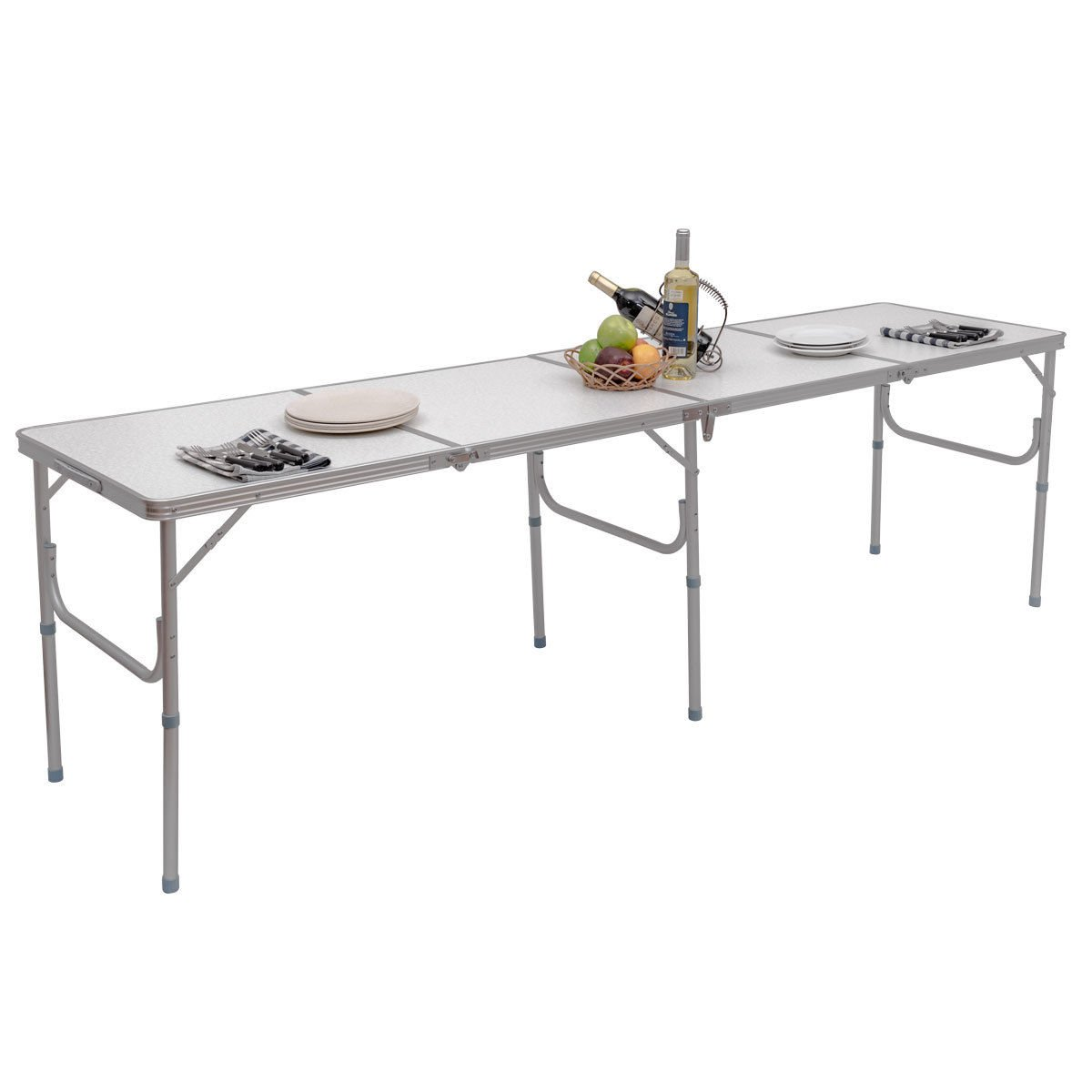 allgoodsdelight365 8FT Aluminum Folding Picnic Camping Table Lightweight In/Outdoor Garden Party