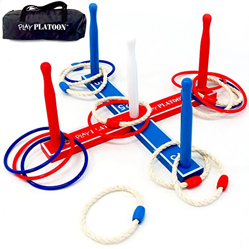 Play Platoon Ring Toss Game Set - Includes 8 Rope & 8 Plastic Rings - Great Party Game or Gift for Adults and Kids - College Basketball Board Game